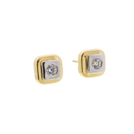 Pendientes cuadrados de oro bicolor y circonita - 1