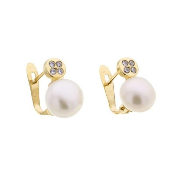Pendientes con perla y circonitas - 1
