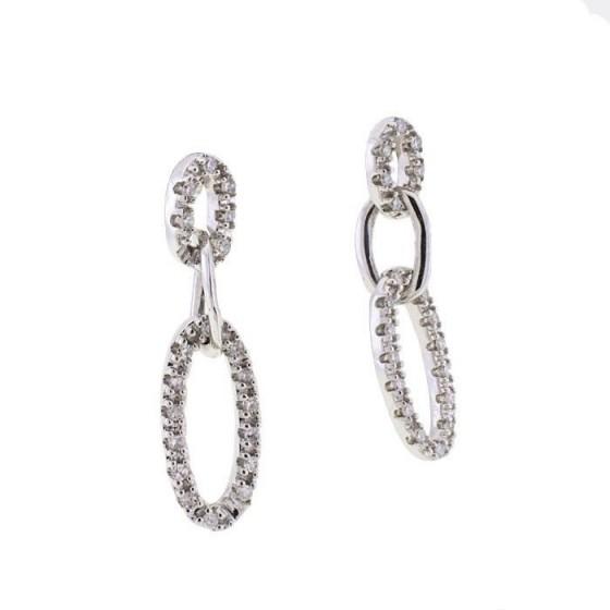 Pendientes de tres eslabones cuajado de diamantes - 1