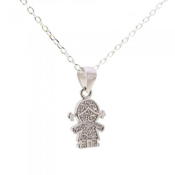 Colgante niña en plata circonitas - 1