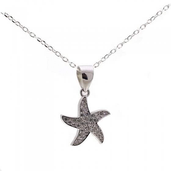 Colgante estrella en plata y circonitas - 1