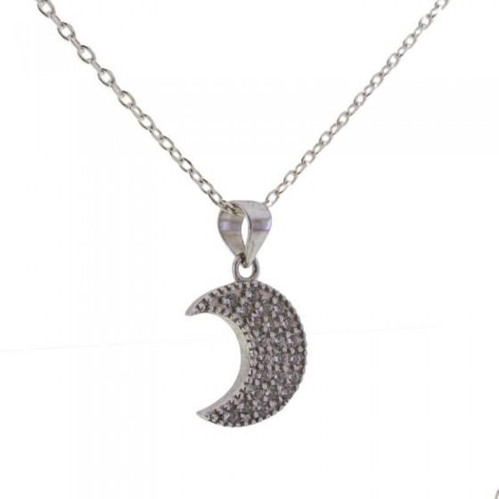 Colgante luna en plata y circonitas - 1