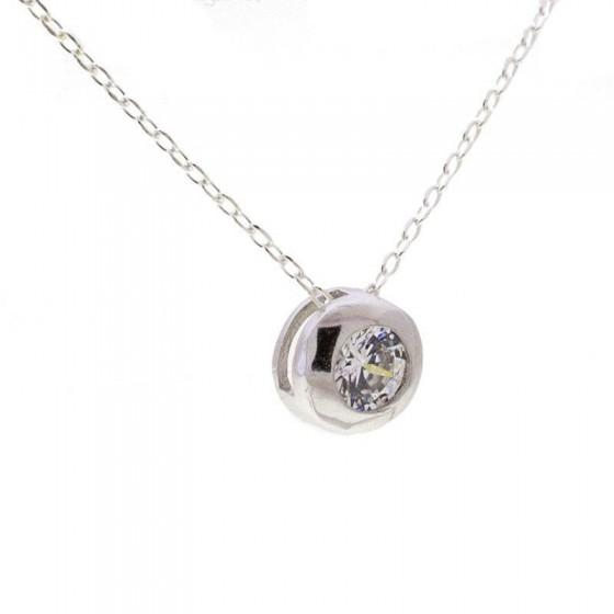 Colgante solitario en plata y circonita - 1