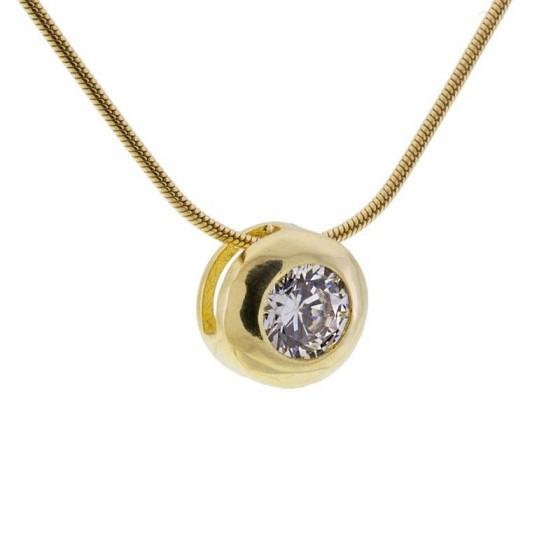 Colgante solitario en plata dorada y circonita - 1