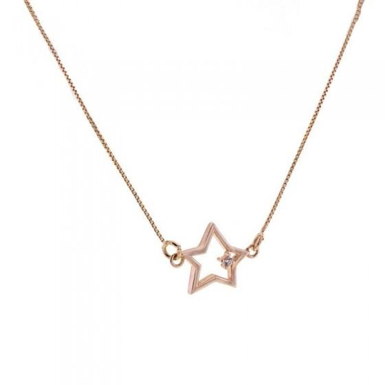 Collar estrella en plata y oro rosa con circonita - 1