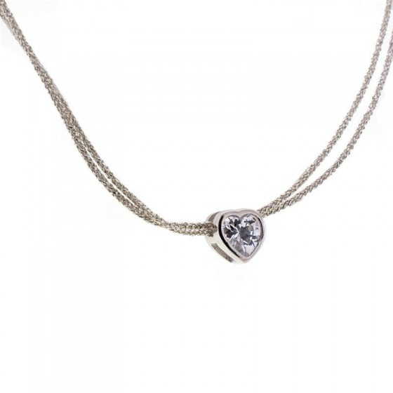 Collar de seda japonesa y corazón de plata con circonita - 1