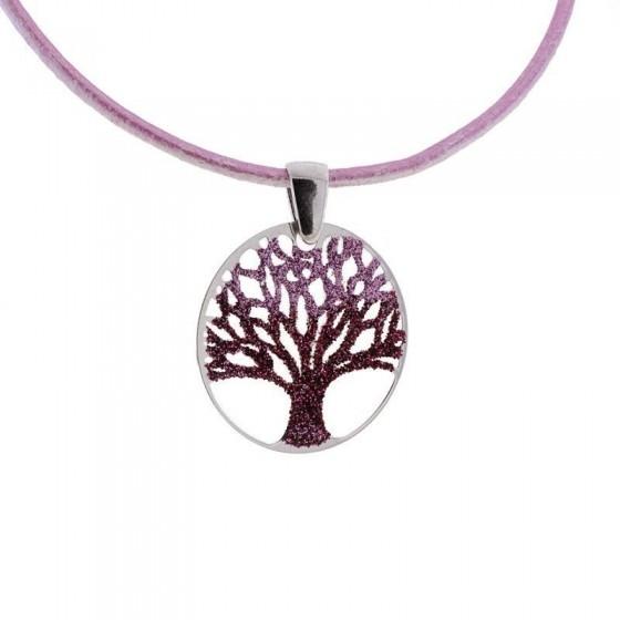 Colgante Árbol de la Vida en plata con tonos rosa - 1