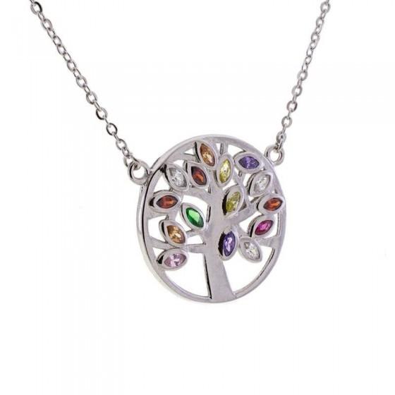 Colgante Árbol de la Vida de plata y piedras de color - 1
