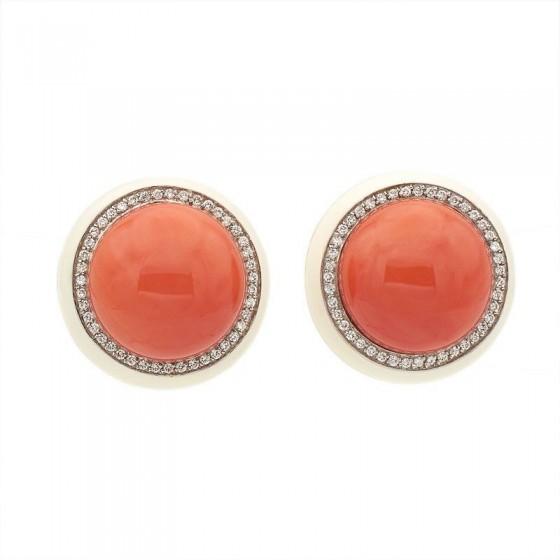 Pendientes de coral con diamantes y esmalte - 1