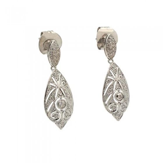 Pendientes con forma de gota en plata con circonitas - 1