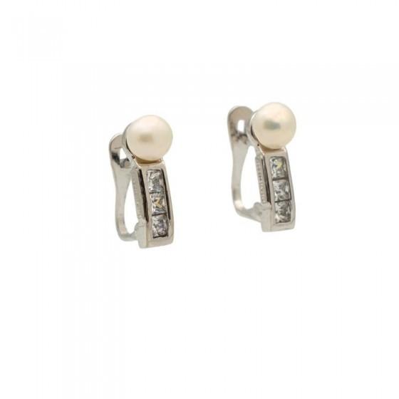 Pendientes de comunión con perla y circonitas - 1