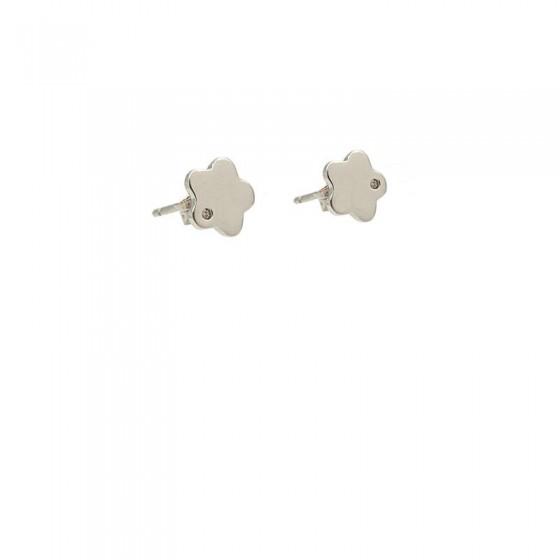 Pendientes de comunión flor de plata y circonitas - 1