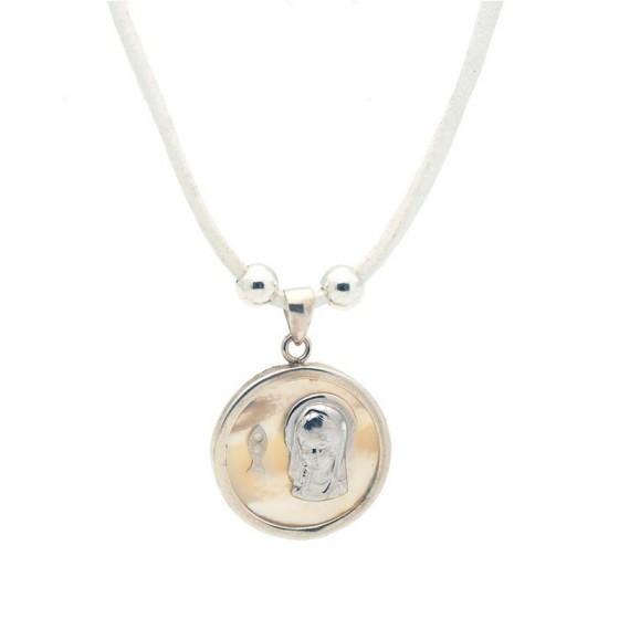 Colgante con medalla de la Virgen en plata y nácar - 1