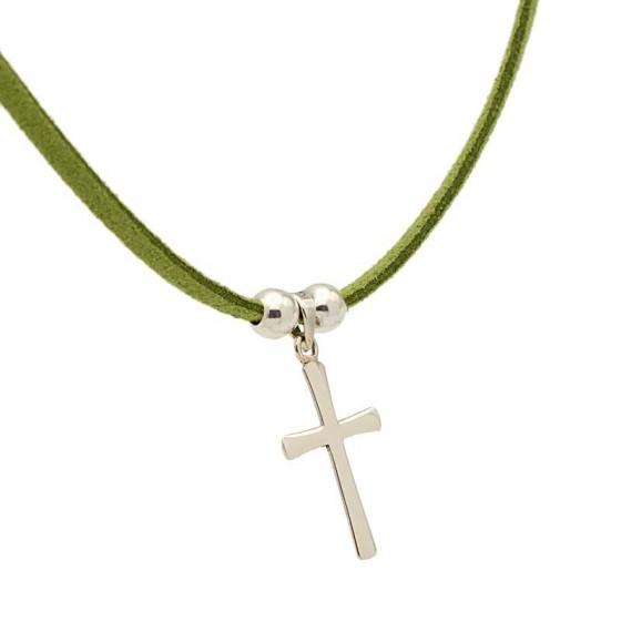 Cruz de plata y cordón de ante verde - 1