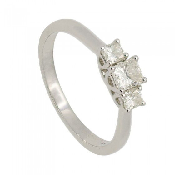 Sortija tresillo con tres diamantes princesa - 7487 - 1