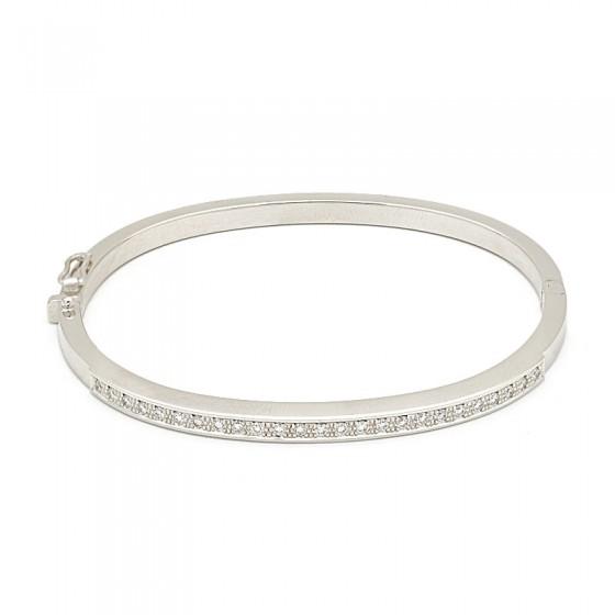 Pulsera rígida de oro blanco y diamantes - 7468 - 1