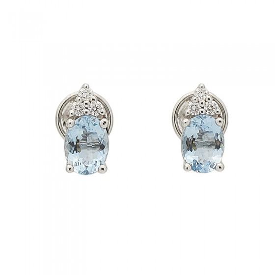 Pendientes de aguamarinas y diamantes - 7465 - 1