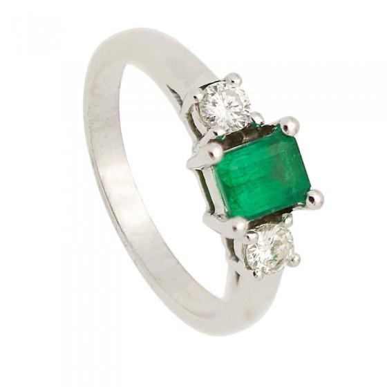 Sortija de oro blanco con esmeralda y diamantes - 7446 - 1