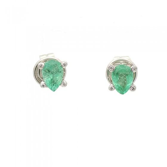 Pendientes de oro blanco con esmeraldas y diamantes - 7520 - 2