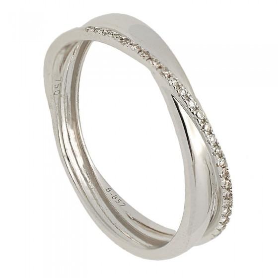 Sortija de oro blanco y diamantes talla 8/8 - 7495 - 1