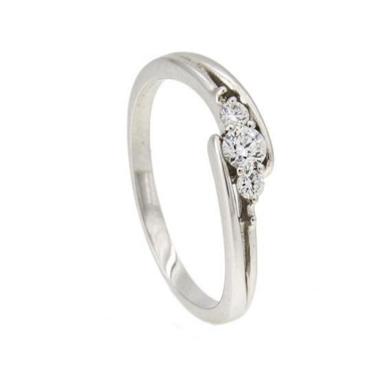 Sortija de oro blanco y tres diamantes - 1