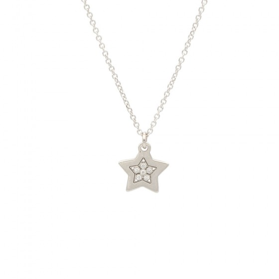Colgante de oro blanco y diamantes en forma de estrella - 7566 - 1