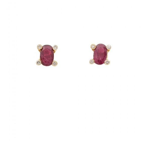 Pendientes de rubí y diamantes - 7470 - 1