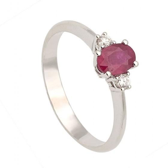 Sortija de rubí y diamantes - 7540 - 1