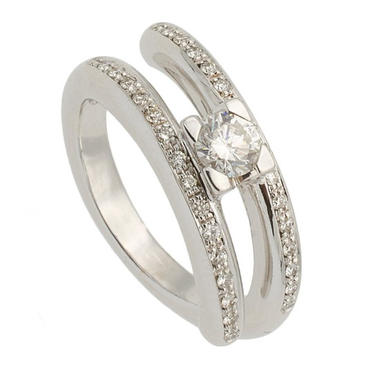 Sortija abierta en oro blanco y diamantes - 7570 - 1