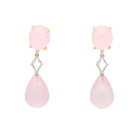 Pendientes de oro rosa y blanco con cuarzo rosa y diamantes - 1