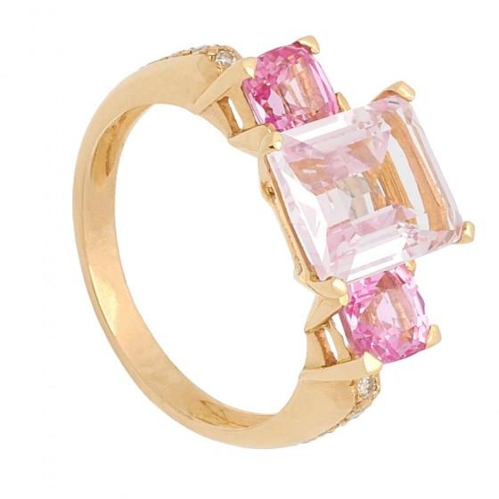 Sortija de oro rosa con Rosa de Francia - 1