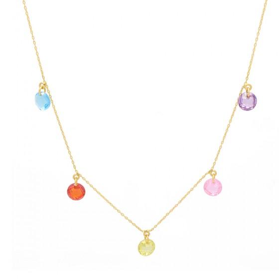 Collar de oro con piedras de color
