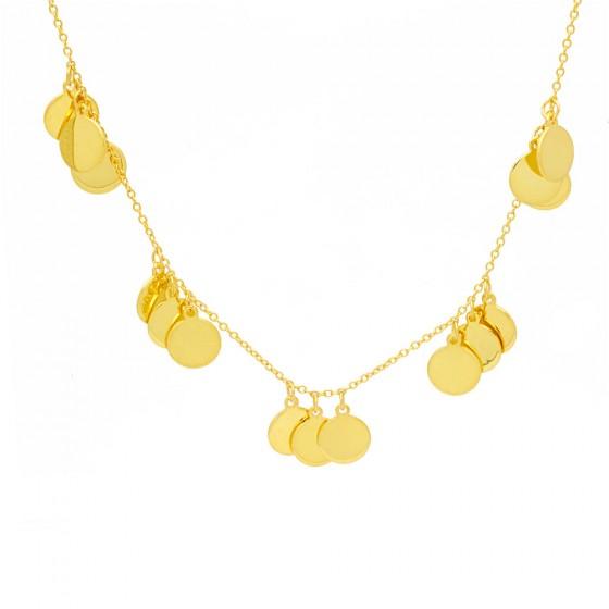 Collar de oro con círculos colgantes