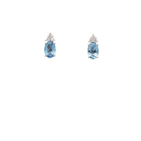Pendientes de oro blanco con aguamarinas y diamantes - 1