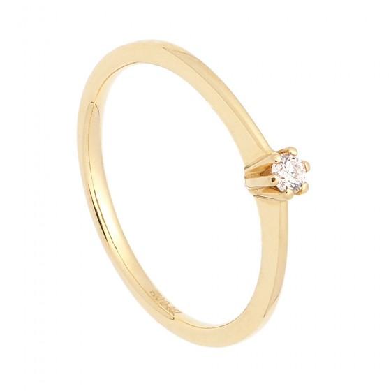 Solitario de oro amarillo y diamante - 1
