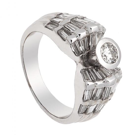 Sortija con diamantes en oro blanco de 18k - 1