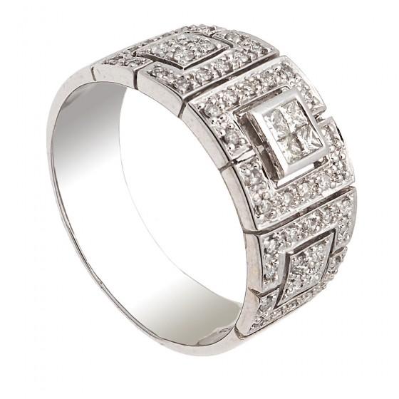 Sortija  con diamantes y oro blanco - 1