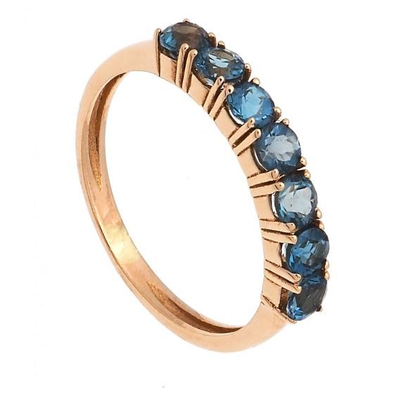 Sortija media alianza con piedras de color azul - 1