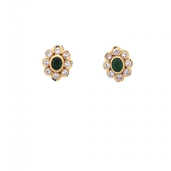 Pendientes de oro con esmeraldas y diamantes - 1