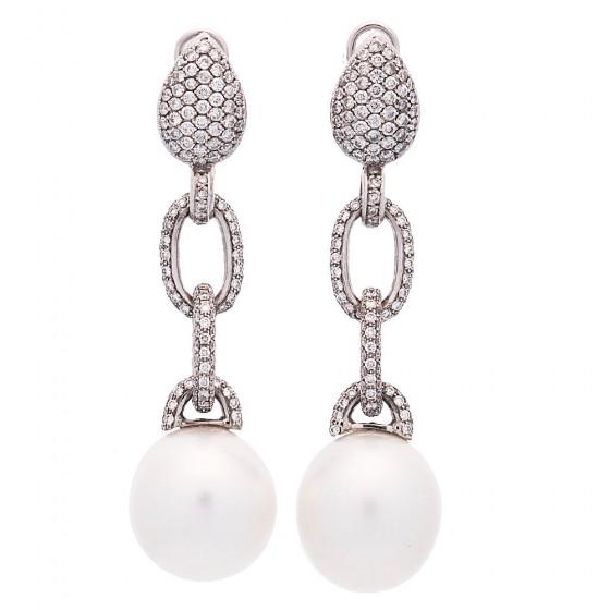 Pendientes de perlas australianas y diamantes - 1