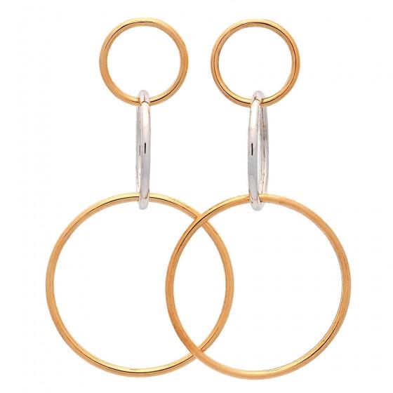 Pendientes largos de círculos en oro bicolor - 1