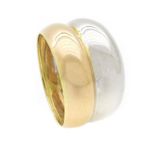 Sortija de oro bicolor doble aro - 1